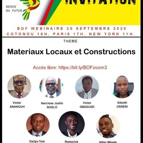 Materiaux Locaux et Constructions – 20 Septembre 2020